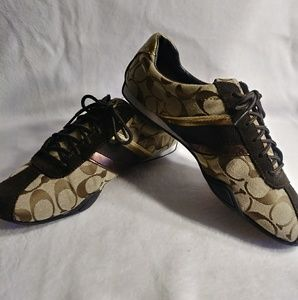 Brown and Gold Coach women's shoes